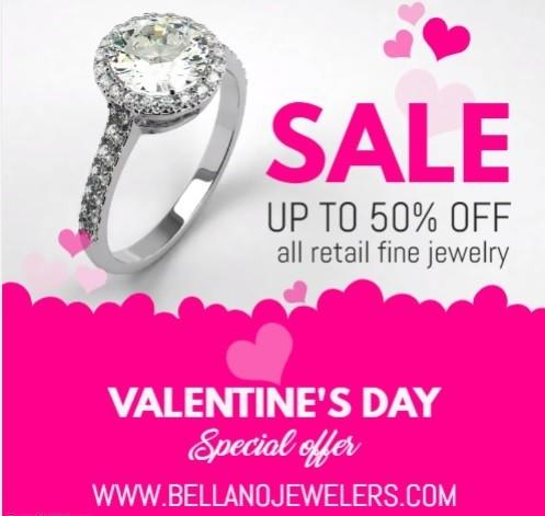 up to 50% off retail fine jewelry from Bellano Jewelers