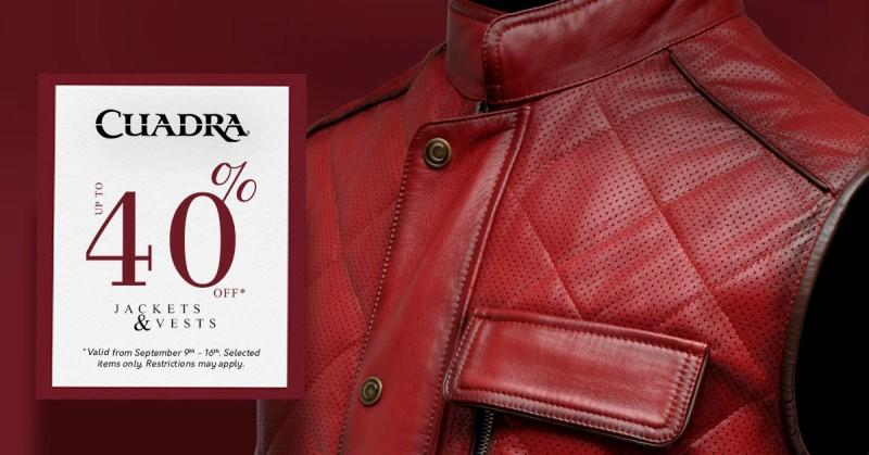 Save up to 40% on jackets and vests at Cuadra! from Cuadra