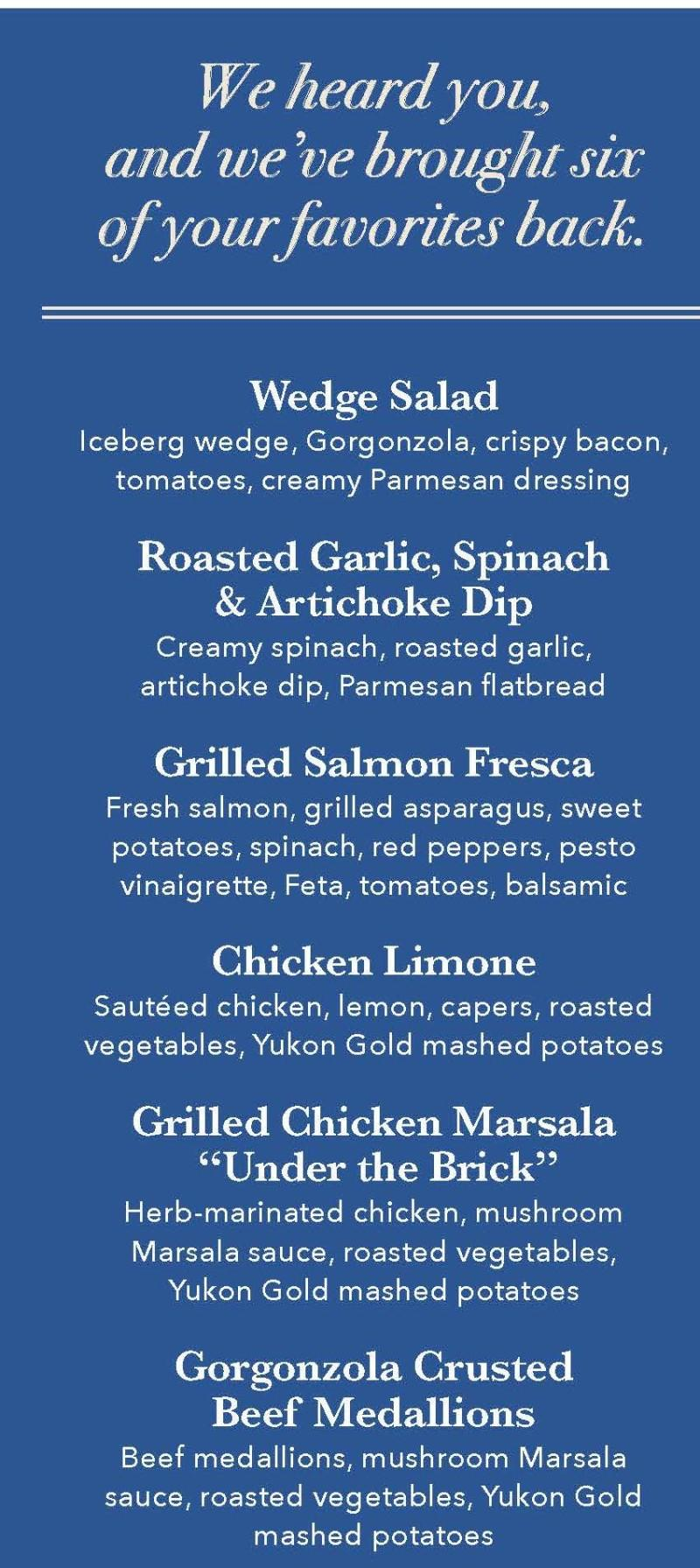 Guest Favorites are back at Brio!