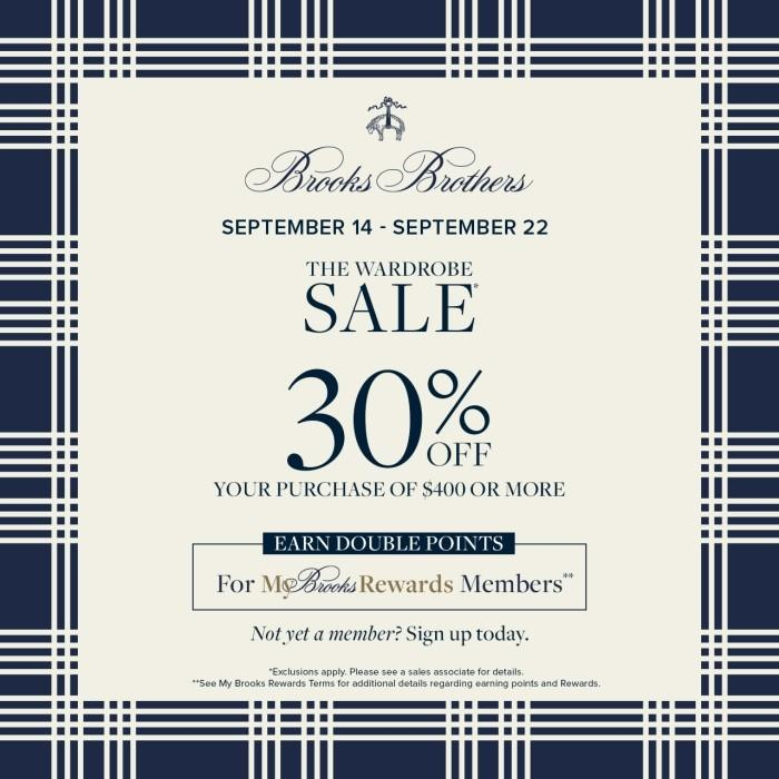 Wardrobe Sale - 30% Off from Brooks Brothers