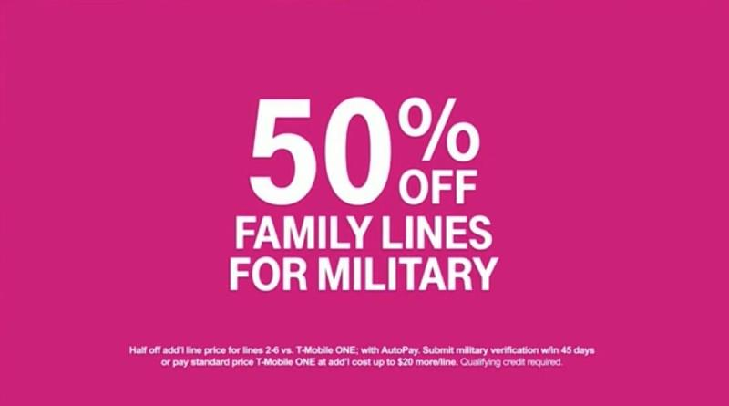 50% off Family Lines for Military from T-Mobile