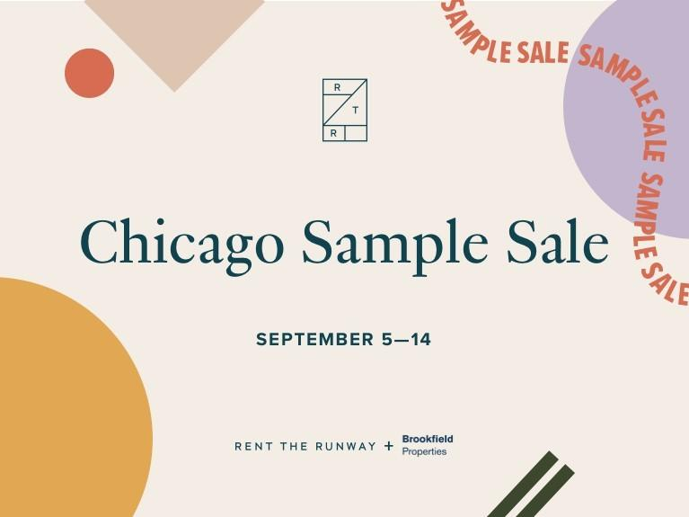 Text: Chicago Sample Sale Sept 4-15 on tan background with RTR and BP logo