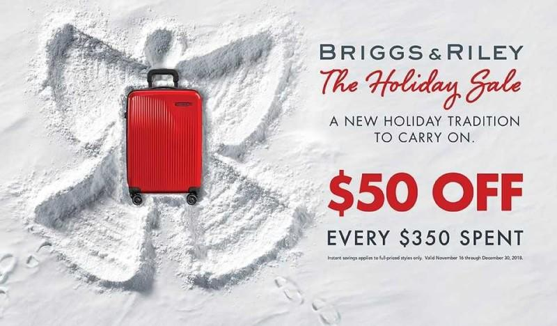 Briggs & Riley Holiday Sale $50 Off Every $350 Spent from Colorado Baggage