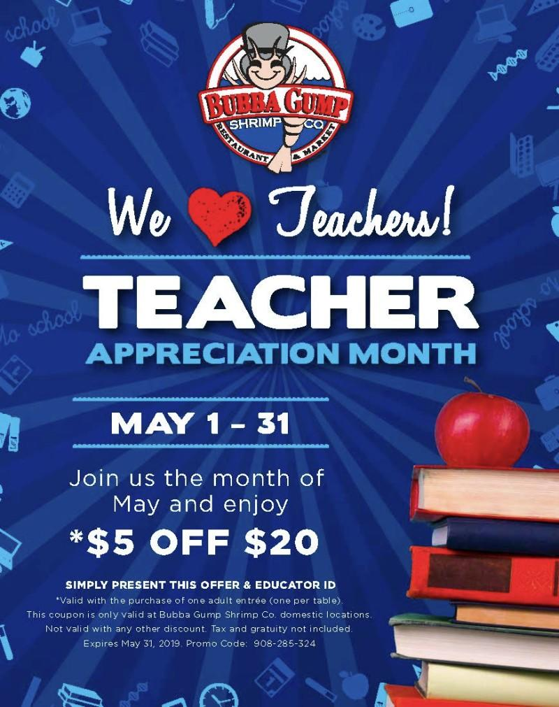 Happy Teacher Appreciation Month! from BUBBA GUMP SHRIMP CO.