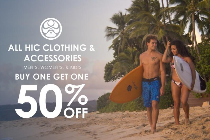 Buy 1 Get 1 50% off all HIC Clothing and Accessories