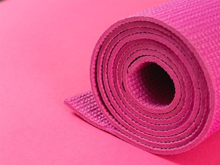 pink yoga mat stretch and sip