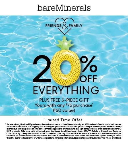 Friends & Family Offer from bareMinerals