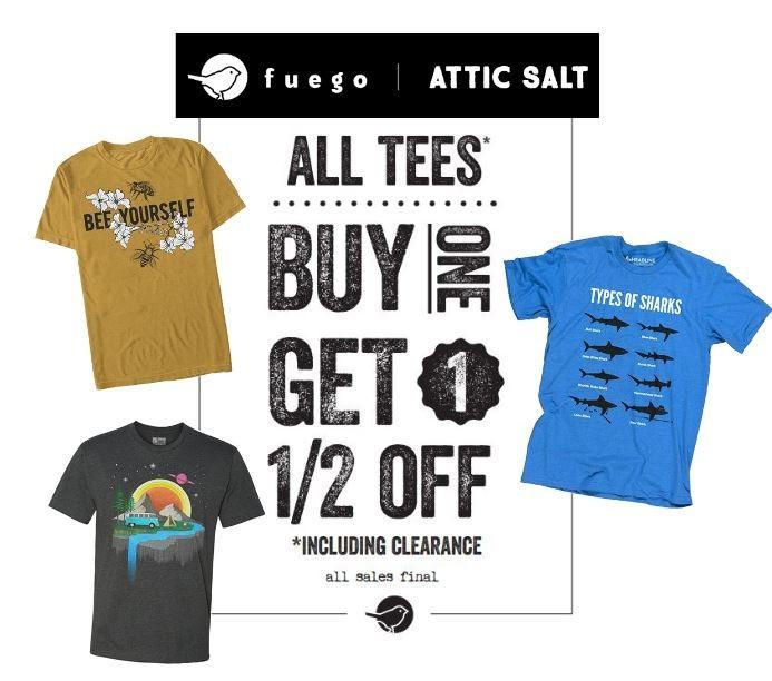 Attic Salt BOGO T-Shirt Sale from Attic Salt