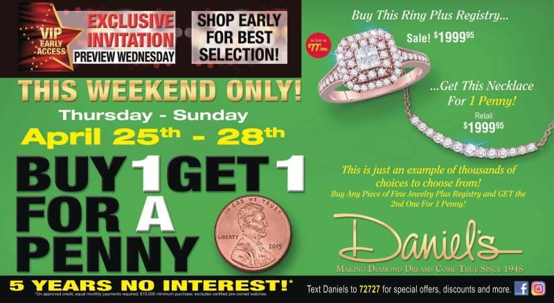 BOGO for a Penny at Daniel's Jewelers
