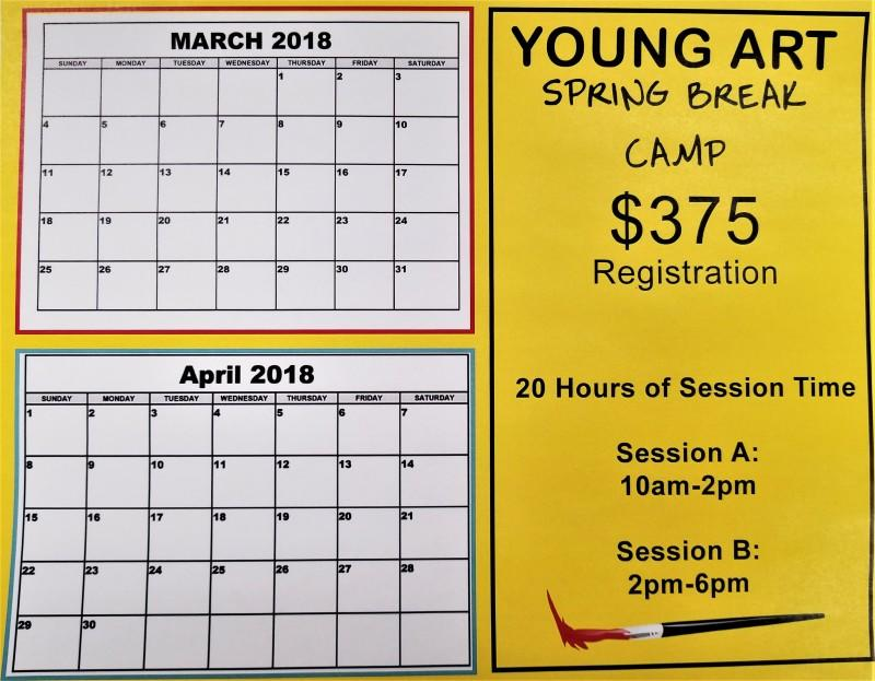 March and April calendars on the left side of the poster the price and session information on the right side of the poster with bright yellow background and a painting brush at the bottom right corner