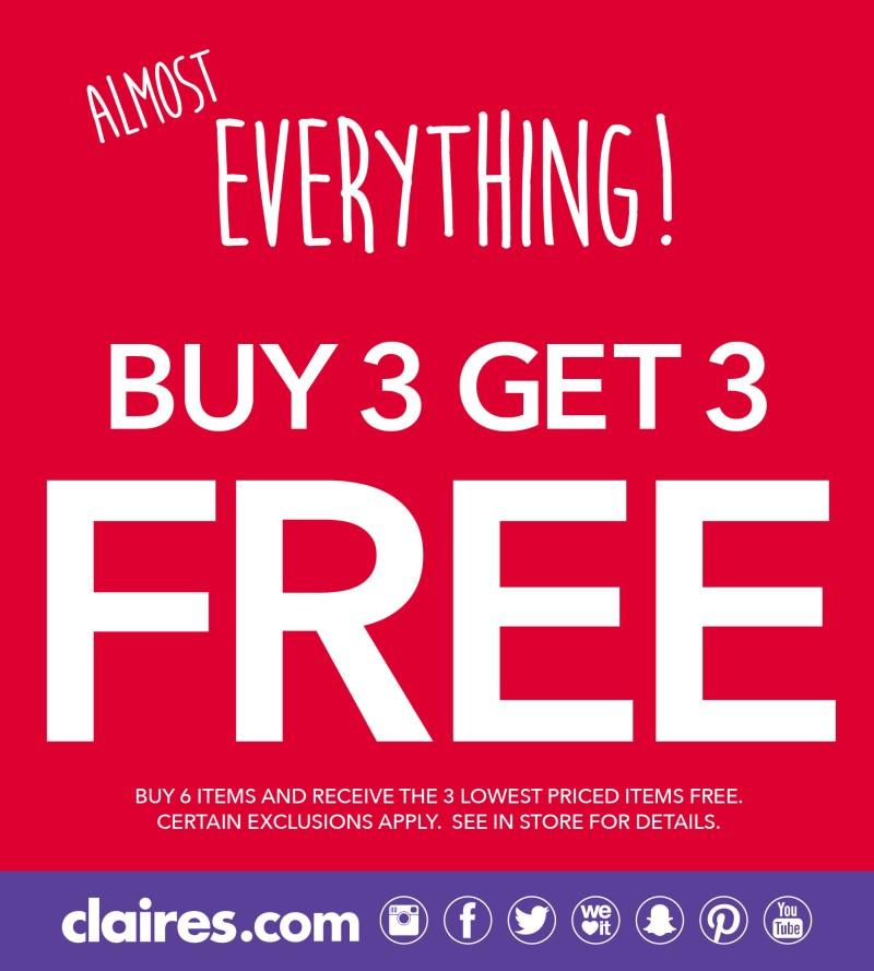Almost Everything Buy 3 Get 3 Free from Claire's