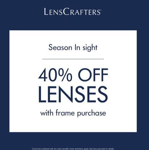 40% Off Lenses with Frame Purchase