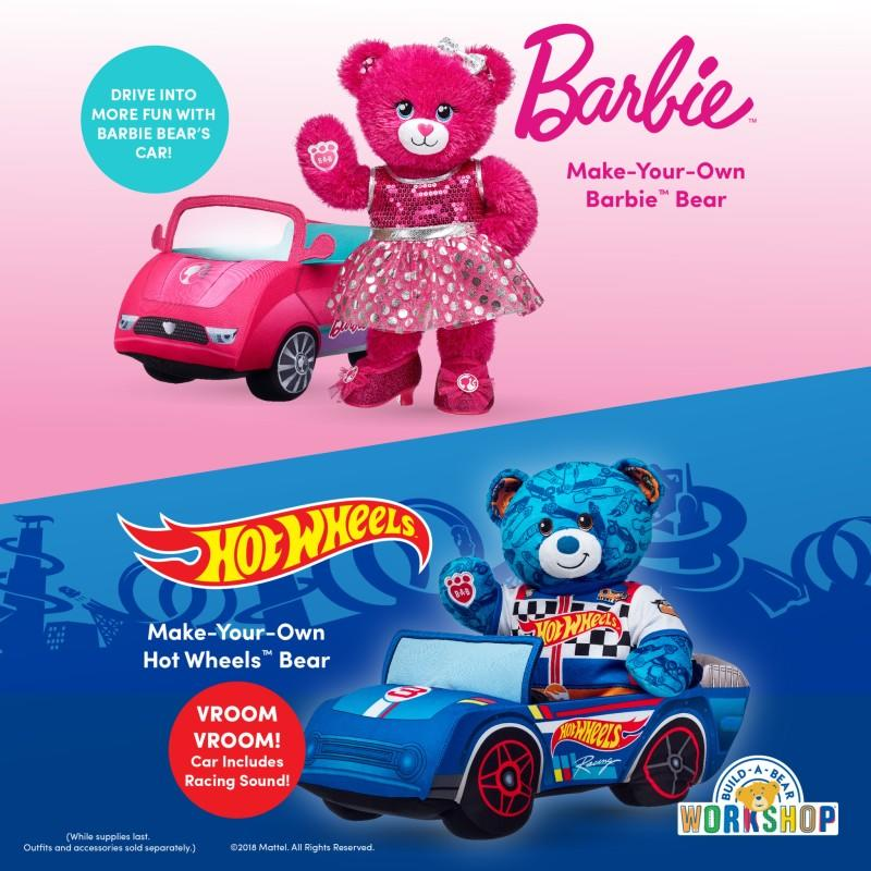 Hot Wheels and Barbie from Build-A-Bear Workshop
