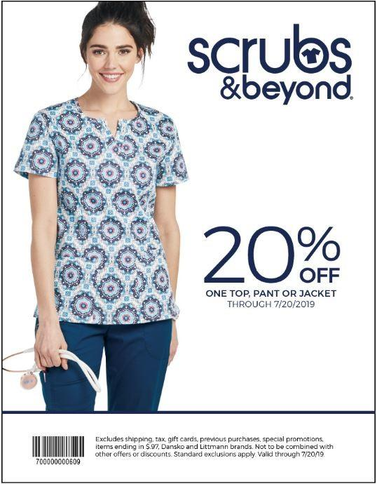 20% OFF, one top, pant or jacket from Scrubs & Beyond