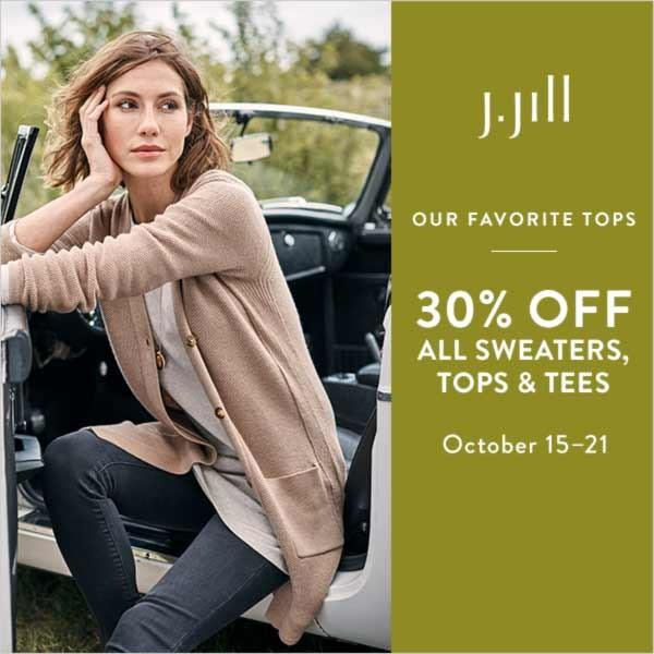 30% Off All Sweaters, Tops, & Tees from J.Jill