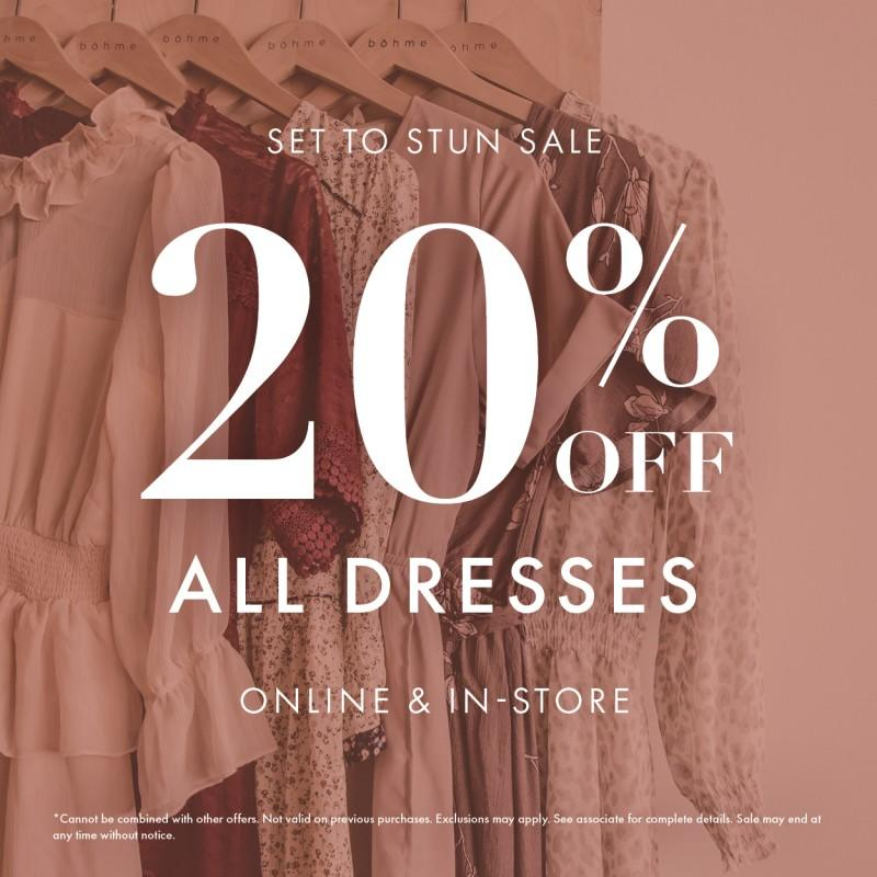 20% Off Dresses from Bohme Boutique