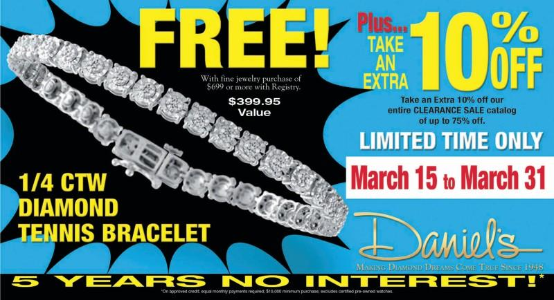 Extra 10% off Clearance Items from Daniel's Jewelers