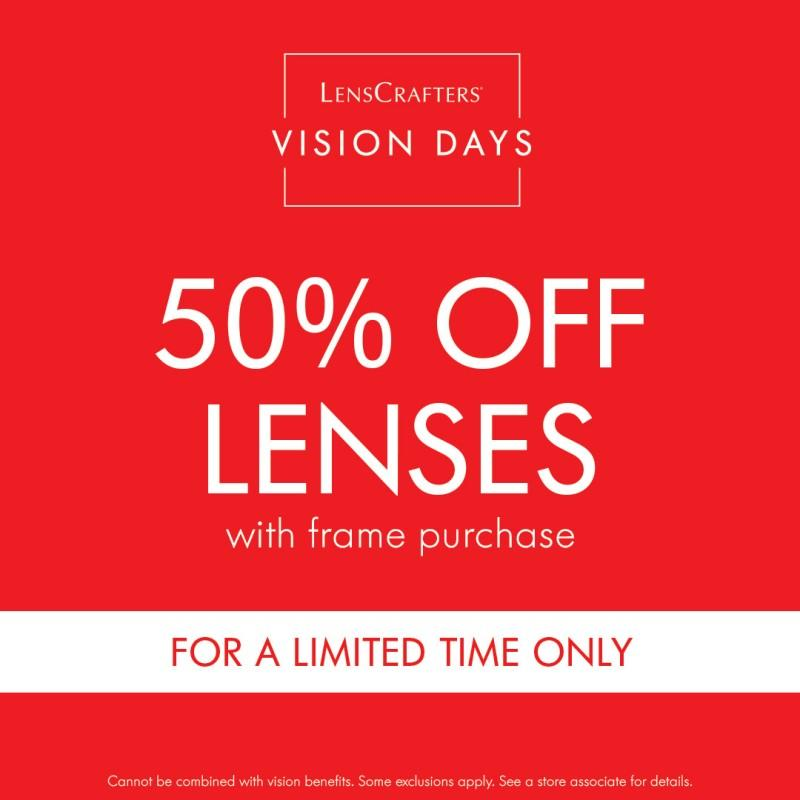 50% off Lenses with Frame Purchase at LensCrafters