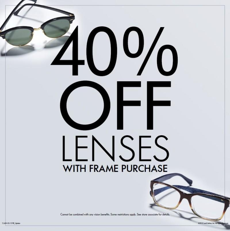 """Lenscrafters """"Back to School 50% off Complete Pair (Frame and Lenses) from LensCrafters"""