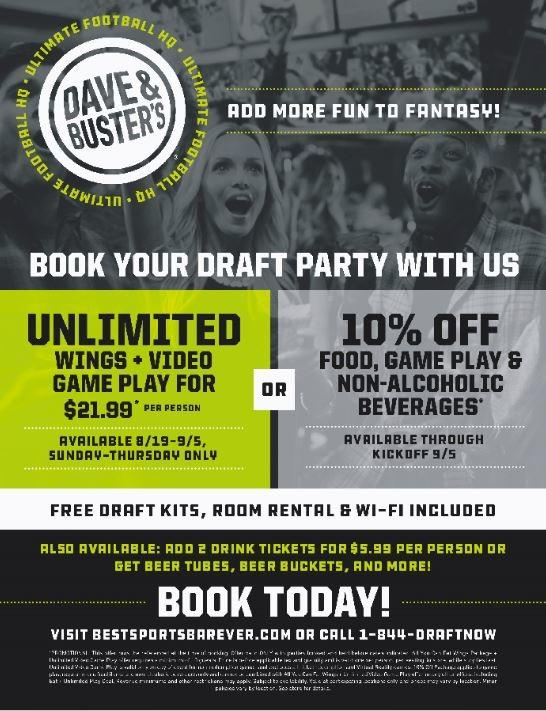 Book Your Draft Party With Us! from Dave & Buster's