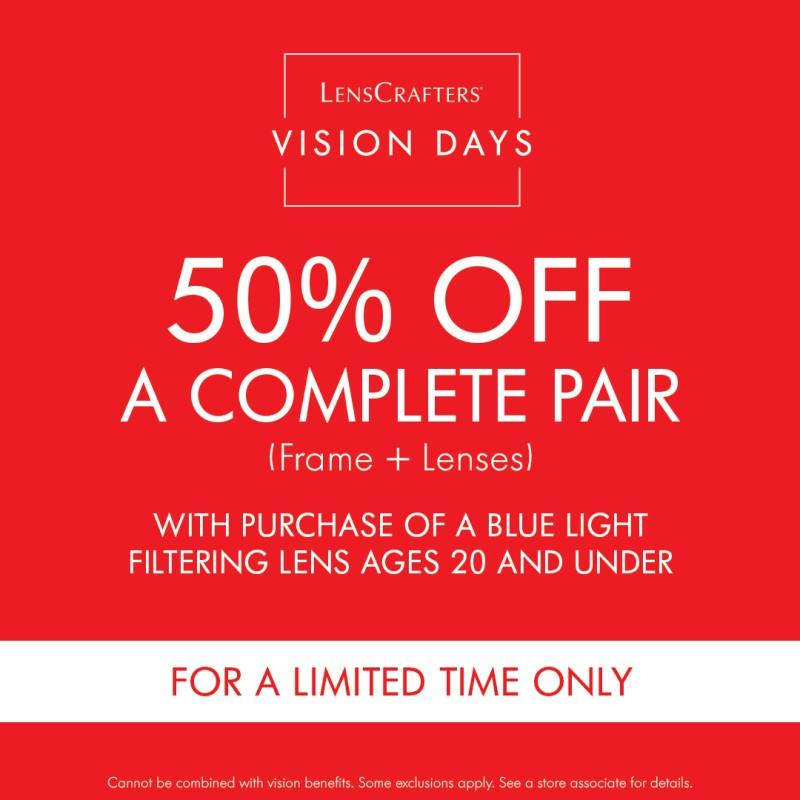 50% Off Complete Pair from LensCrafters