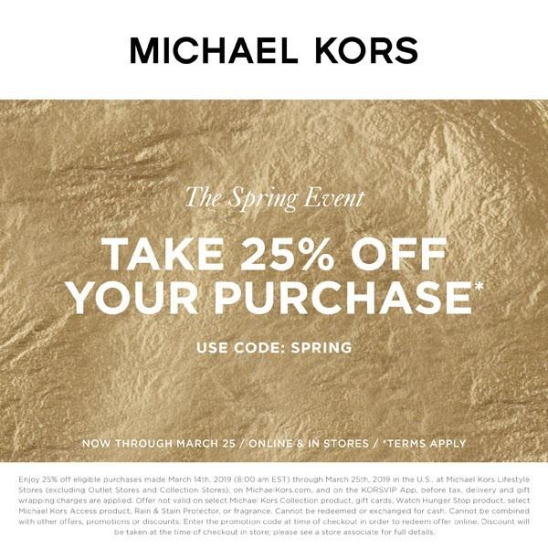 Enjoy 25% Off Your Purchase from MICHAEL KORS