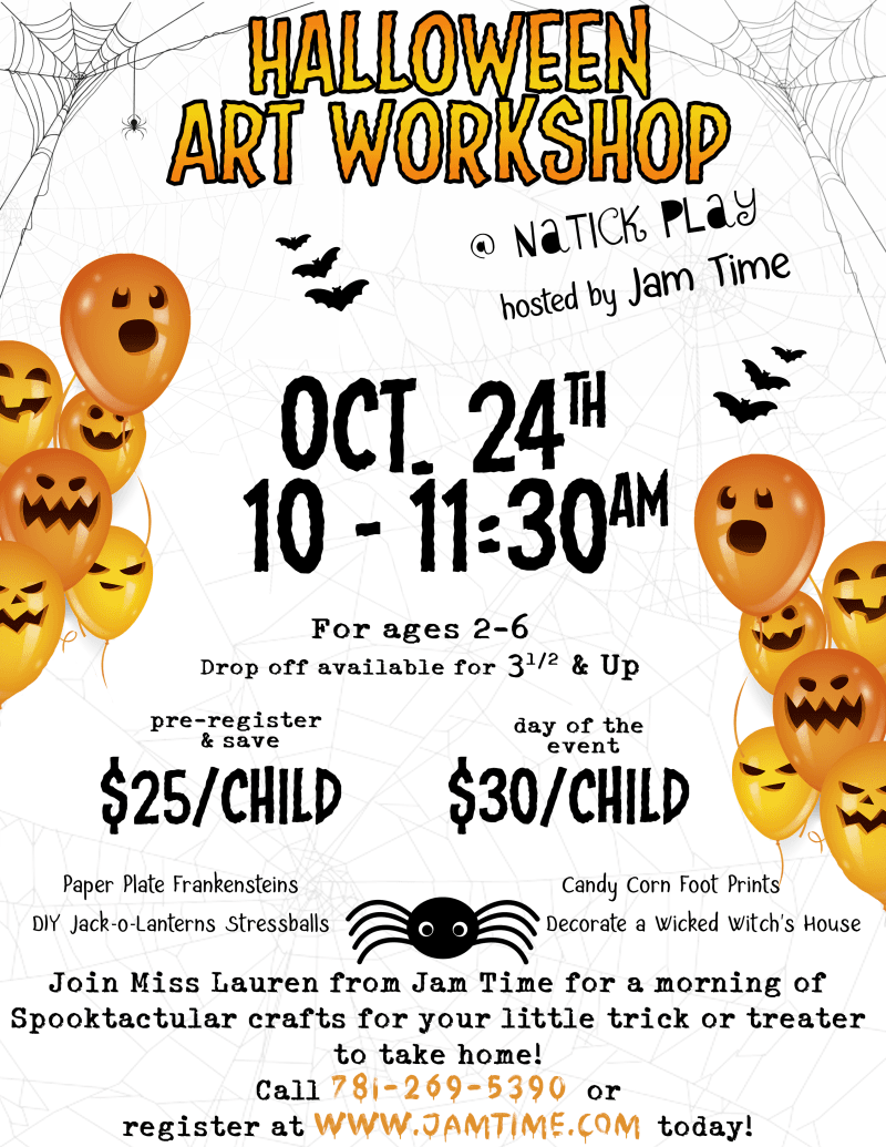 Natick Mall Halloween Art Workshop Jam Time
