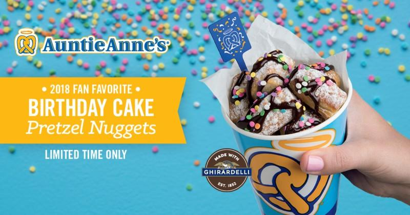 Limited Time Birthday Cake Pretzel Nuggets from Auntie Anne's