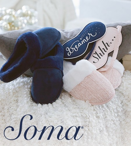 $15.00 Slippers With Purchase at Soma from Soma By Chico's