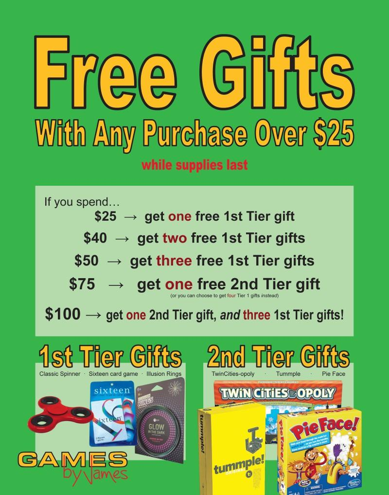 Free gifts with any purchase over $25 from Games By James