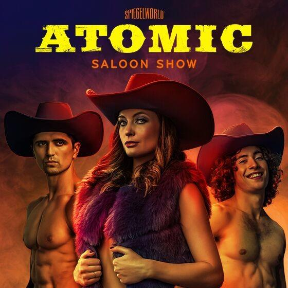 The atomic saloon show text with neon cowgirl with rope in background