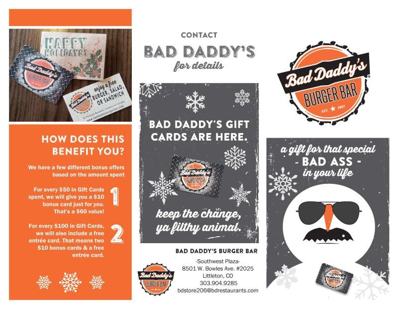 Bonus Offers on Gift Card Purchases! from Bad Daddy's Burger Bar