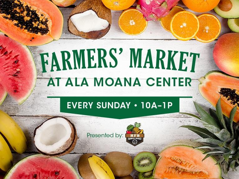 Picture of mangoes, watermelons, oranges, coconuts, bananas and kiwis surrounding the text 'Farmers' Market at Ala Moana Center. Every Sunday. 10AM to 1PM.""