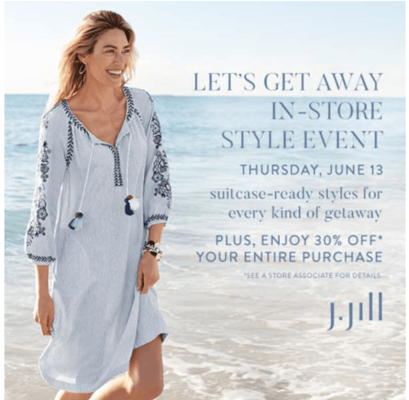 0fe2aaf6647a Let's Get Away In-Store Style Event. Location pin icon J.Jill