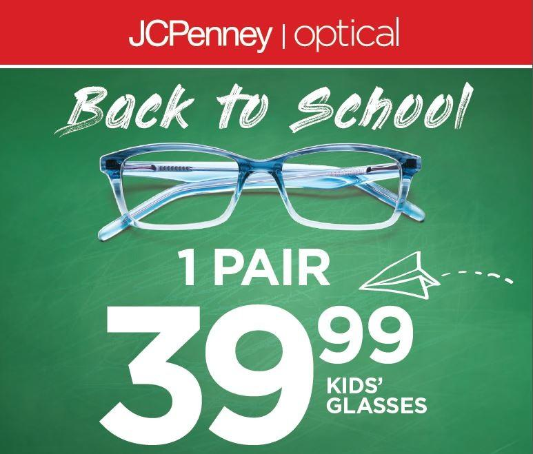 Back to School 1 pair of kids' glasses $39.99 from JCPenney Optical