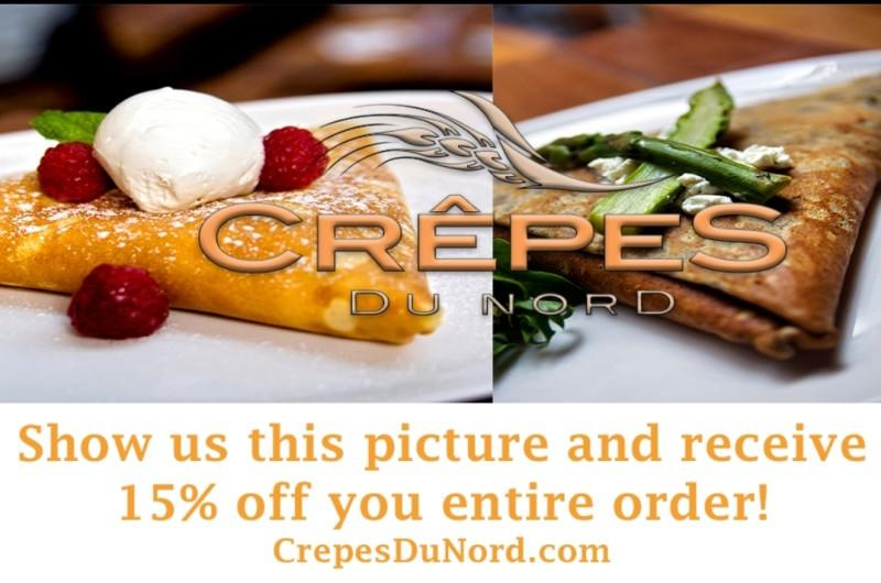 Save 15% off your entire order! from Crepes Du Nord