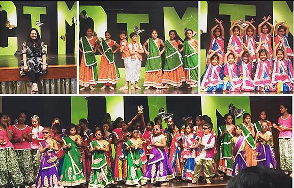 a picture collage of the teacher and student dancers in traditional indian clothes