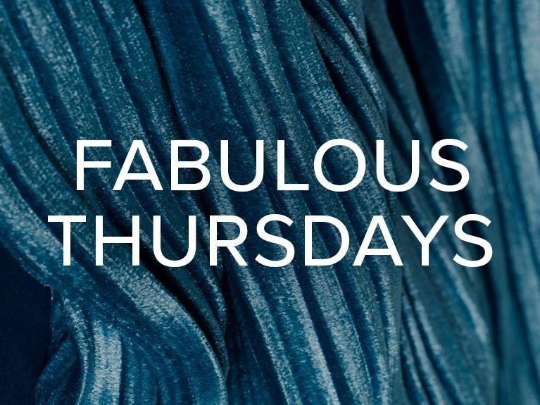 blue background with words fabulous thursdays written on top in white