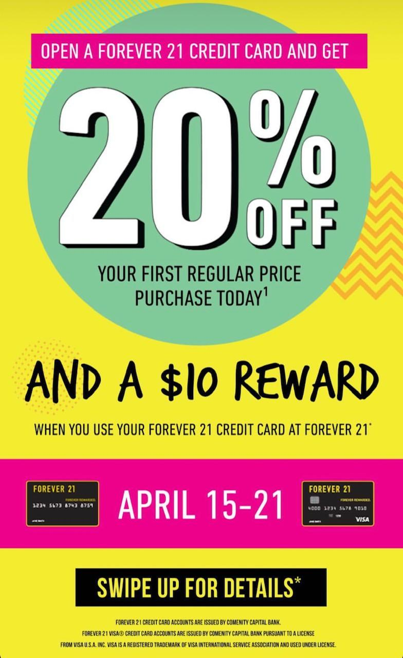 Open a F21 Credit Card and Get 20% Off Your First Regular Price Purchase