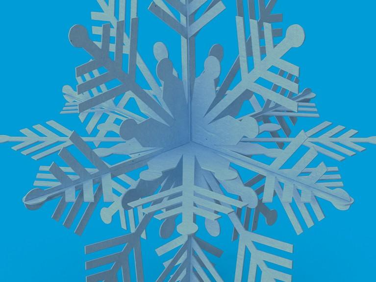 Blue background with a white and blue snowflake