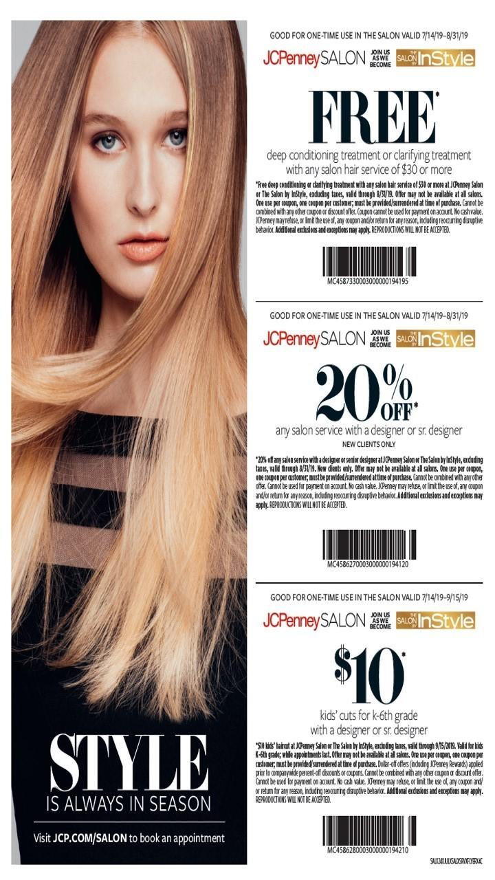 Salon Services offers discounts from July 14-September 15, 2019 from JCPenney Salon