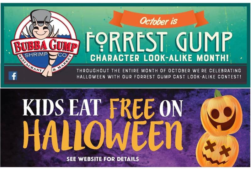 October is Forrest Gump Character Look-Alike Month from Bubba Gump Shrimp Co
