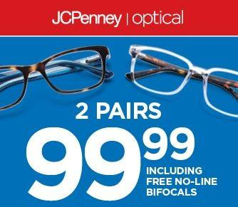 2 Pairs of glasses $99.99 from JCPenney Optical