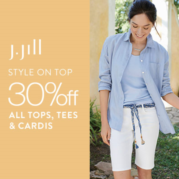 Style on Top, 30% off All Tops, Tees & Cardis from J.Jill