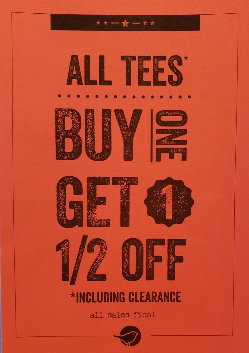 All Tees Buy one Get one Half Off from Fuego