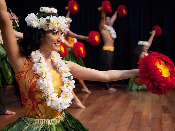 Hula dancer performing on stage