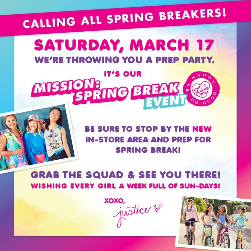 Promotional Flier for the in-stpre justice spring break event