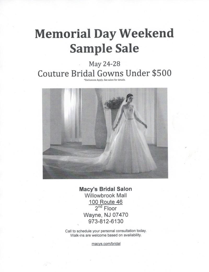 Macy's Bridal Salon Memerial Day Weekend Sample Sale