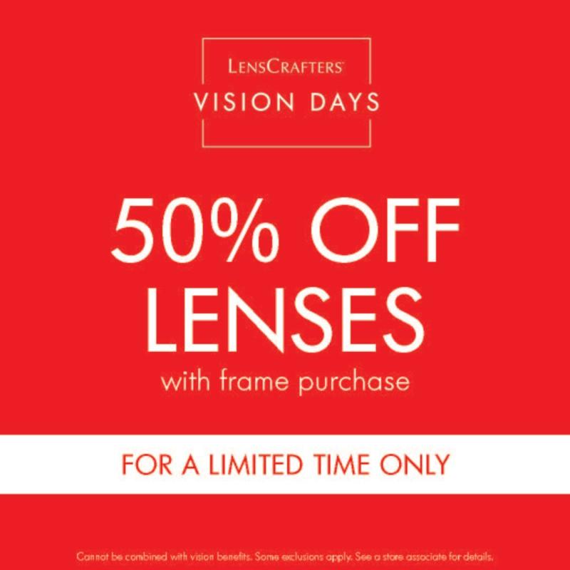 50% OFF Lenses* from LensCrafters