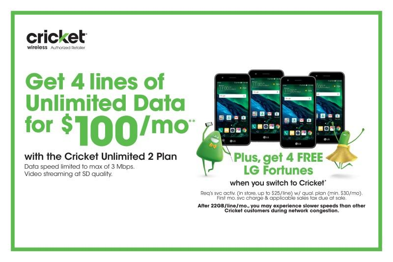 4 LINES 4 $100 from Cricket Wireless